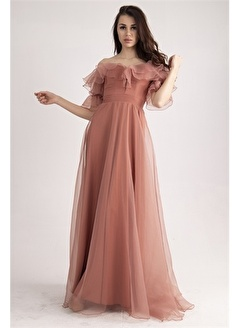 Belamore  Somon Yakası Ve Kolu Volanlı Abiye&Mezuniyet Elbisesi 1301554.37